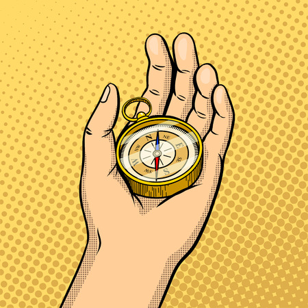 Compass in hand pop art style vector illustration. Comic book style imitation. Reklamní fotografie - 79268703