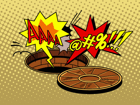 Someone fell into the open hatch pop art style vector illustration. Comic book style imitation. Illustration