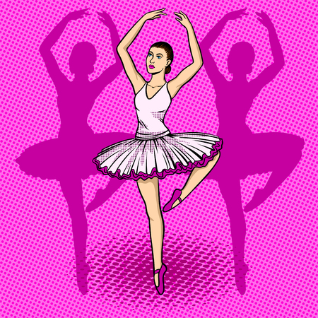 Ballet dancer pop art retro vector illustration. Comic book style imitation. Reklamní fotografie - 79273415