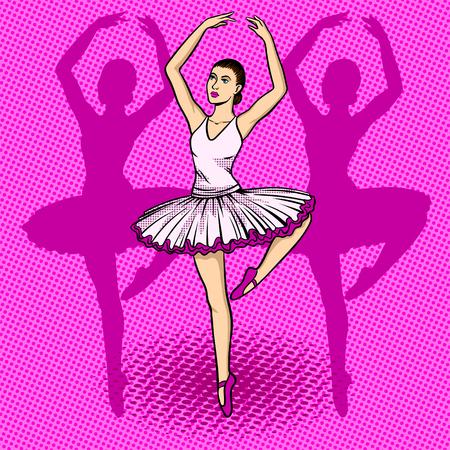 Ballet dancer pop art retro vector illustration. Comic book style imitation.