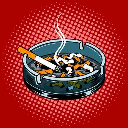 Asbak met sigarettenpeuken popart stijl vectorillustratie. Comic book stijl imitatie.