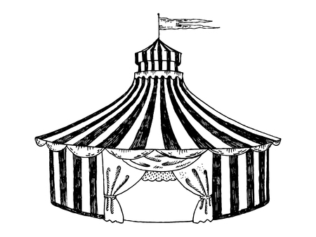 Circus tent engraving style vector illustration Stock Illustratie
