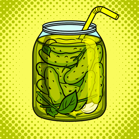 Jar with pickled cucumbers pop art vector Ilustração