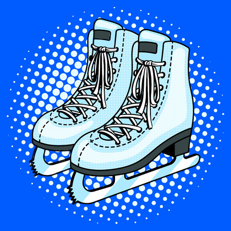 Skates pop art style vector illustration. Comic book style imitation