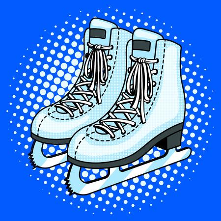 Skates pop art style vector illustration. Comic book style imitation