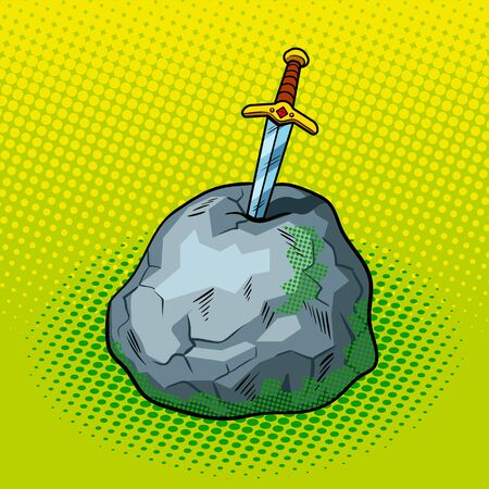Sword in stone comic book pop art retro style vector illustration