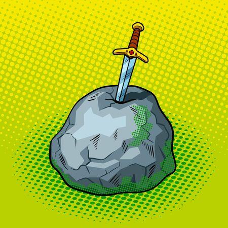 Sword in stone comic book pop art retro style vector illustration Stock Vector - 79337122