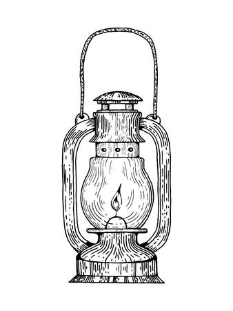 Kerosene lamp engraving style vector