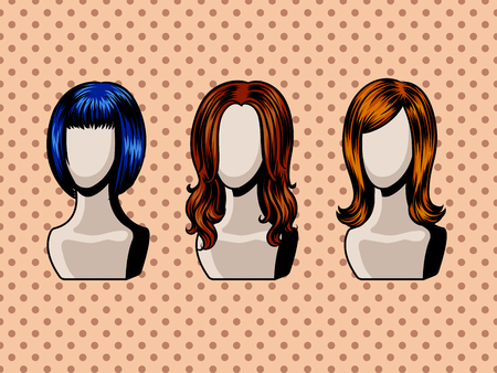 Female wigs comic book style vector