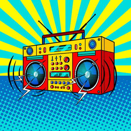 Boombox comic book style vector illustration Stock Photo