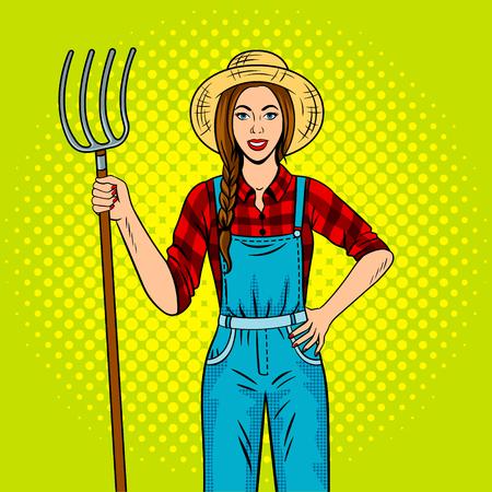 Girl farmer with pitchfork pop art vector Reklamní fotografie - 79703265