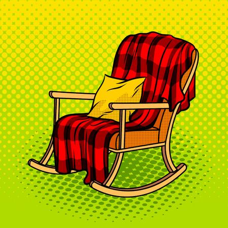 Illustration vectorielle de rocking chair pop art style. Imitation de style bande dessinée