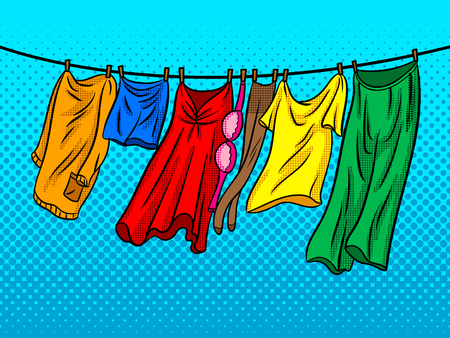 Clothes dries on a rope comic book pop art retro style vector illustratoin