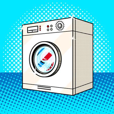 洗濯機 pop アート スタイルのベクトル図です。コミック スタイルの模倣