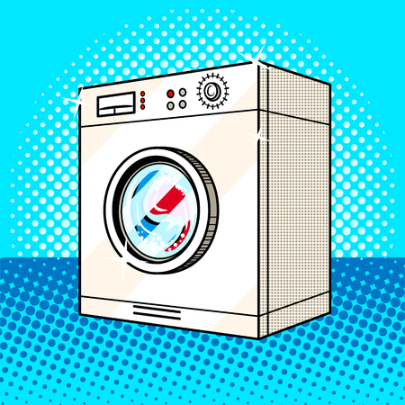 Washing machine pop art style vector illustration. Comic book style imitation