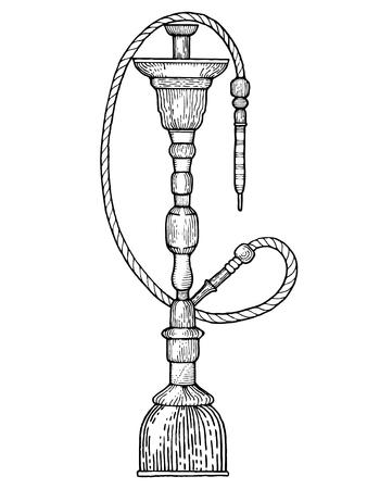 Hookah engraving style vector illustration Illustration
