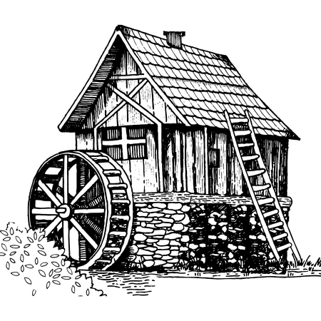 Old water mill engraving style vector illustration