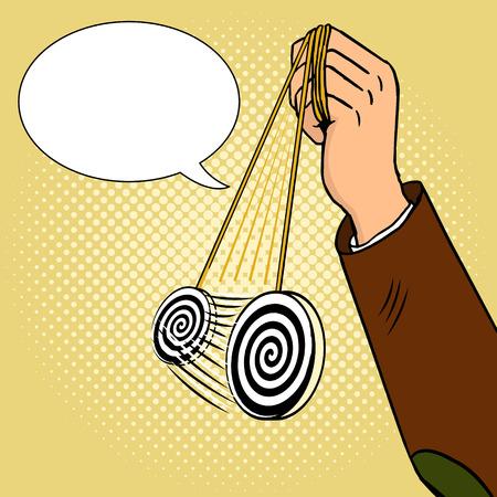 Hand of hypnotist with pendulum pop art vector