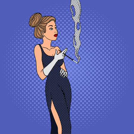 Woman smokes cigarette pop art style vector