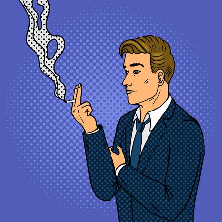 남자 연기가 담배 팝 아트 복고풍 벡터 일러스트 레이 션. 만화 스타일 모방입니다.