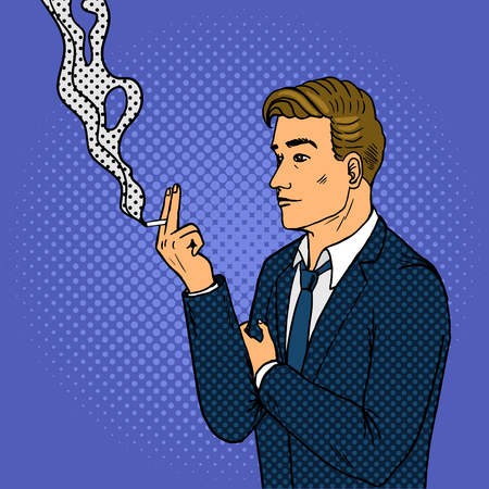 Man smokes cigarette pop art retro vector illustration. Comic book style imitation. Иллюстрация