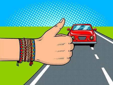 Hitchhiking pop art retro vector illustration. Comic book style imitation.
