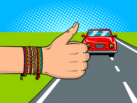 Hitchhiking pop art retro vector illustration. Comic book style imitation.