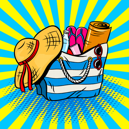 Beach bag pop art retro vector illustration. Comic book style imitation. Фото со стока
