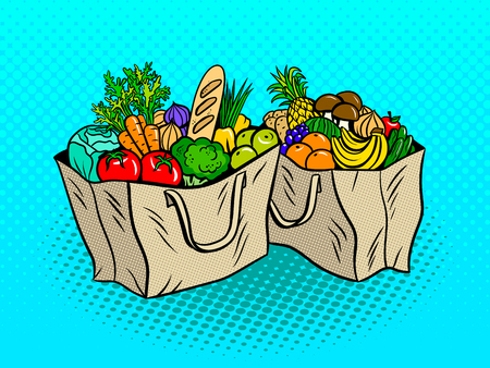 greenery: Eco food in paper bags pop art retro vector illustration. Comic book style imitation.