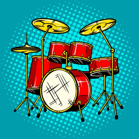 Drum set musical instrument vector illustration