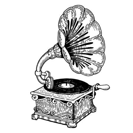 Grammofoon gravure stijl vector