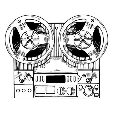 Tape recorder engraving style vector illustration Stock Photo