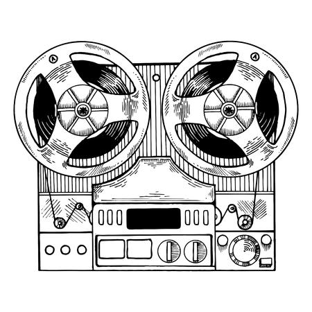 Tape recorder engraving style vector illustration 版權商用圖片