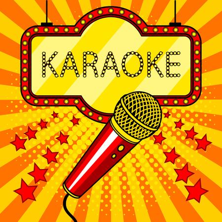 Ilustración de vector de estilo pop art de micrófono Foto de archivo - 80273495