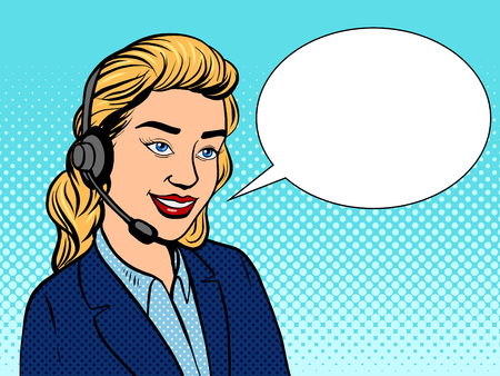 Tech support girl pop art retro vector illustration. Comic book style imitation.