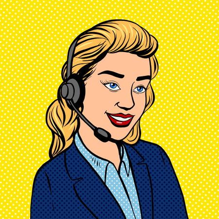 Tech support girl pop art vector illustration