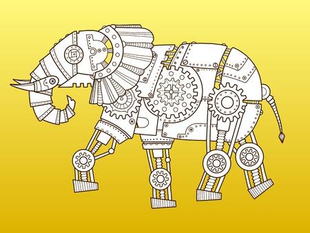 코끼리 로봇입니다. 증기 펑크 스타일. 컬러 패션 벡터 일러스트 레이션 일러스트