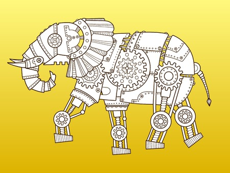 Elefante robot. Stile punk a vapore. Illustrazione vettoriale di moda colore