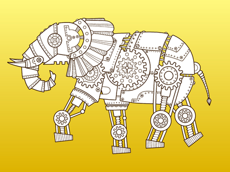 Elephant robot. Steam punk style. Color fashion vector illustration Banco de Imagens