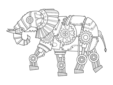 drawn metal: Steam punk style elephant. Mechanical animal. Coloring book vector illustration.