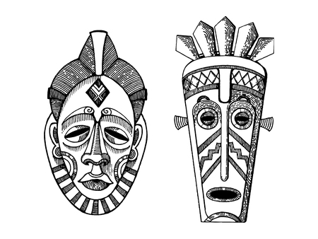 Afrikaanse maskers van wilden graveren stijl vector Stock Illustratie