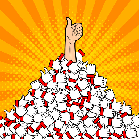 Heap of likes metaphor pop art vector illustration Ilustrace