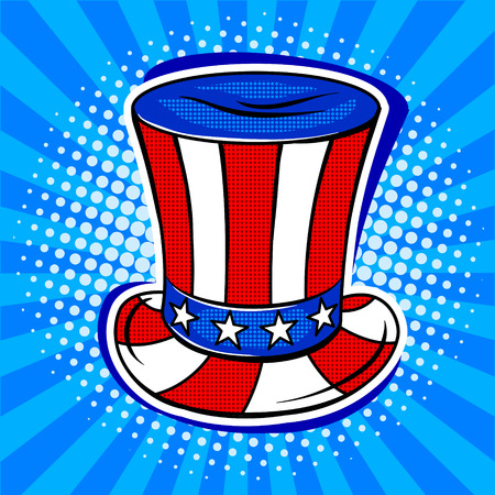 Hat in coloring of American flag pop art retro vector illustration. Comic book style imitation.