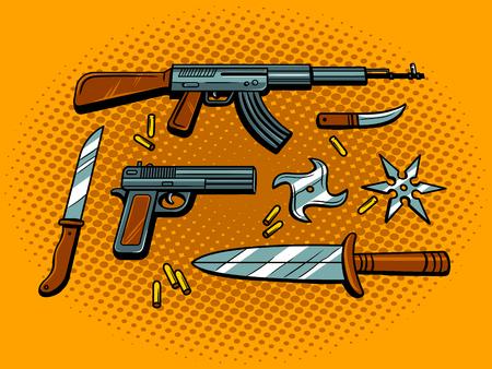 武器ポップアート レトロなベクター イラストです。コミック スタイルの模倣。  イラスト・ベクター素材