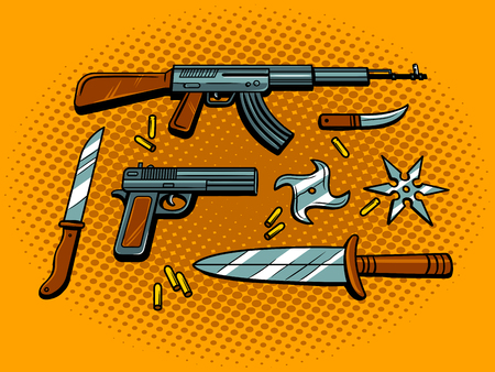 Weapon pop art retro vector illustration. Comic book style imitation.