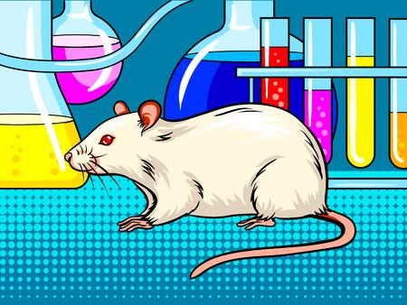실험실 마우스 팝 아트 레트로 벡터 일러스트 레이 션. 만화 스타일 모방입니다.