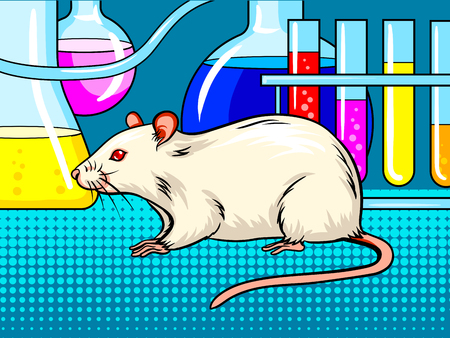 Laboratory mouse pop art retro vector illustration. Comic book style imitation. Reklamní fotografie