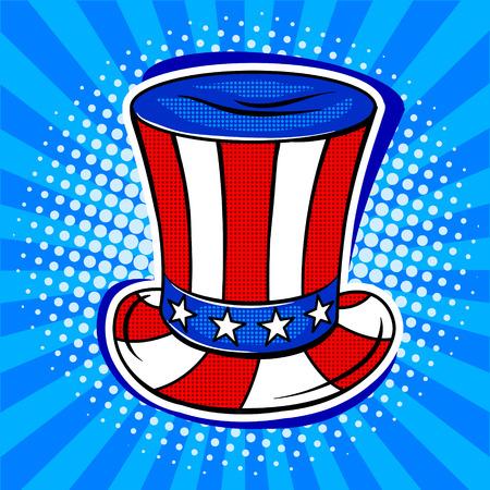 미국 국기 색칠에 모자 팝 아트 복고풍 벡터 일러스트 레이 션. 만화 스타일 모방입니다. 스톡 콘텐츠