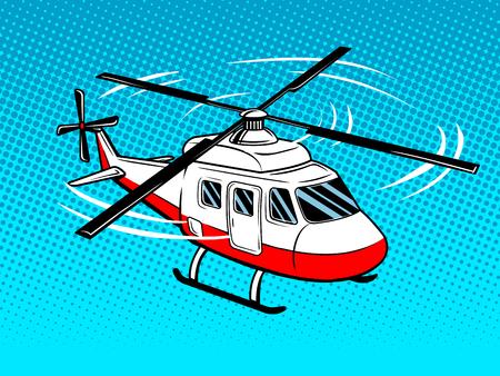 구조 헬리콥터 팝 아트 스타일. 손으로 그린 만화 모방 벡터 일러스트 레이션
