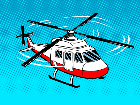 Rescue helicopter pop art style. Hand drawn comic book imitation vector illustration Vettoriali